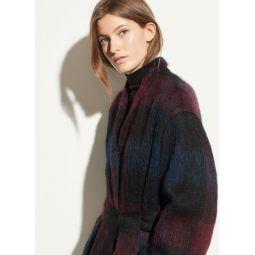 Brushed Plaid Long Coat
