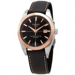 Mens Leather Black Dial