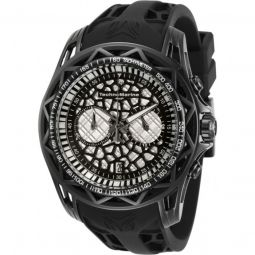 Mens TechnoCell Chronograph Silicone Black and Silver-tone Dial