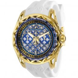 Mens TechnoCell Chronograph Silicone Blue and Silver-tone Dial