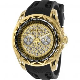 Mens TechnoCell Chronograph Silicone Gold-tone and Silver-tone Dial