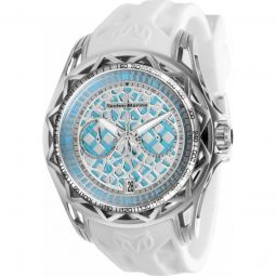 Mens TechnoCell Chronograph Silicone Light Blue and Silver-tone Dial