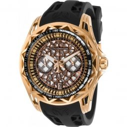 Mens TechnoCell Chronograph Silicone Rose Gold and Silver-tone Dial