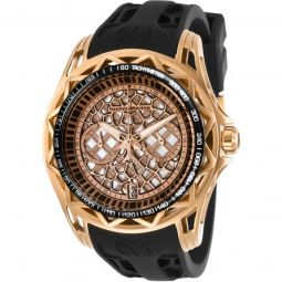 Mens TechnoCell Chronograph Silicone Rose Gold-tone and Black Dial