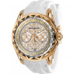 Mens TechnoCell Chronograph Silicone Rose Gold-tone and Silver Dial