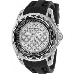 Mens TechnoCell Chronograph Silicone Silver-tone and Black Dial