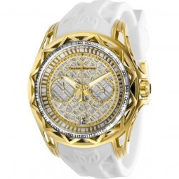 Mens TechnoCell Chronograph Silicone Silver-tone and Gold-tone Dial