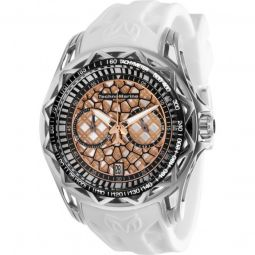 Mens TechnoCell Chronograph Silicone Silver-tone, Black and Rose Gold-tone Dial