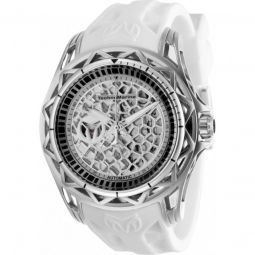 Mens TechnoCell Silicone Black and Silver-tone Dial