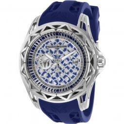 Mens TechnoCell Silicone Blue and Silver-tone Dial