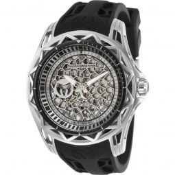Mens TechnoCell Silicone Silver-tone and Black Dial
