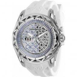Mens TechnoCell Silicone Silver-tone and Light Blue Dial