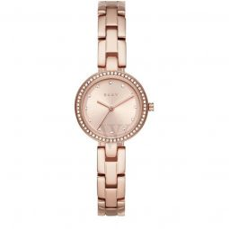 Womens City Link Stainless Steel Rose Gold-tone Dial