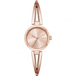 Womens Crosswalk Stainless Steel Crossover Bangle Rose Gold-tone Dial