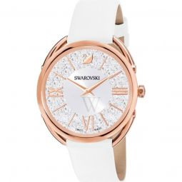 Womens Crystalline Glam Leather White Dial