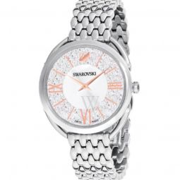 Womens Crystalline Glam Stainless Steel Silver-tone Dial
