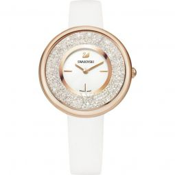 Womens Crystalline Pure Leather White Swarovski Crystals Dial