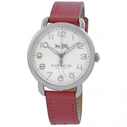 Womens Delancey Leather White Dial