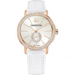 Womens Graceful Leather Silver-tone Dial