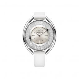 Womens Oval Rose Gold-Tone Leather Silver-tone Dial