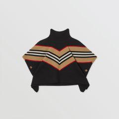 Icon Stripe Panel Wool Cashmere Blend Poncho