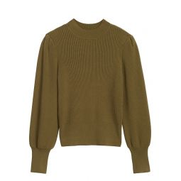 Puff-Sleeve Cropped Sweater