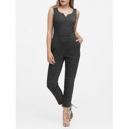 Metallic Ponte Scoop-Neck Jumpsuit