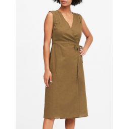 Linen-Cotton Wrap Dress