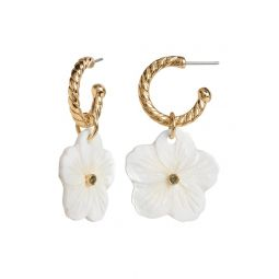 Floral Drop Hoop Earrings