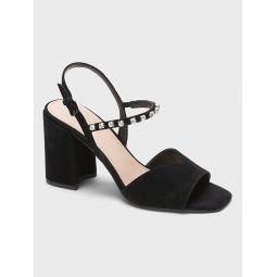Embellished Suede Block-Heel Sandal