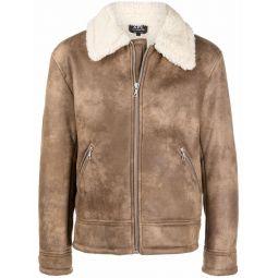 A.P.C. contrasting collar zipped jacket neutrals