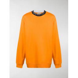 Acne Studios logo-neck trimmed sweatshirt orange