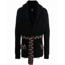 Alanui tie-fastening knitted cardigan black