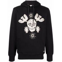 Alexander McQueen skull-embroidered cotton hoodie black
