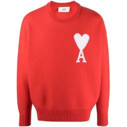 AMI Paris Ami de Coeur jumper red