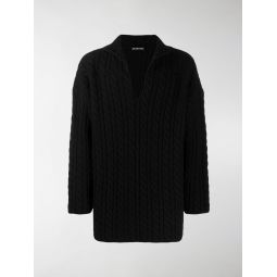 Sale Balenciaga cable knit jumper black