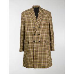 Sale Balenciaga check double-breasted coat yellow