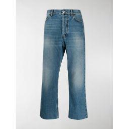 Sale Balenciaga cropped straight leg jeans blue