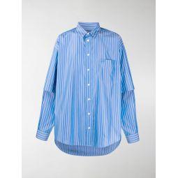 Sale Balenciaga double sleeve striped shirt blue