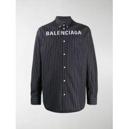 Sale Balenciaga pinstriped logo buttoned shirt black