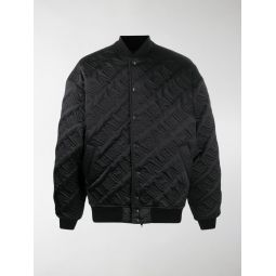 Sale Balenciaga Quilted embroidered logo bomber jacket black