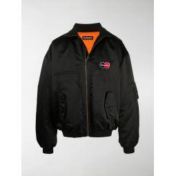 Sale Balenciaga Uniform logo-embroidered bomber jacket black