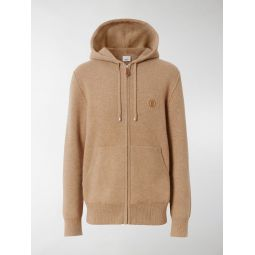 Sale Burberry embroidered monogram zipped hoodie neutrals