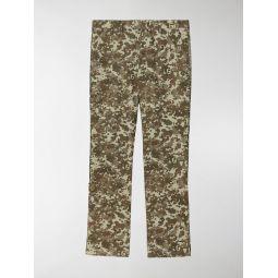 Sale Burberry Monogram Print Stripe Detail Cotton Trousers green