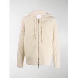 Sale Burberry rib-knit zipped hoodie neutrals