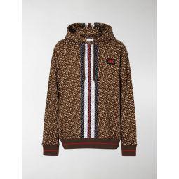 Burberry striped monogram-print hoodie brown