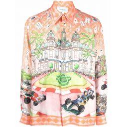 Casablanca King of Cards-print silk shirt orange