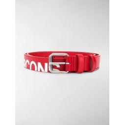 Comme Des Garcons cut-off logo leather belt red