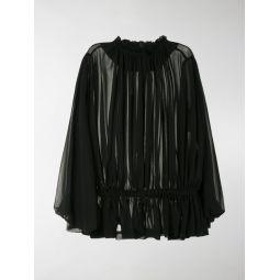 Comme Des Garcons draped semi-sheer blouse black