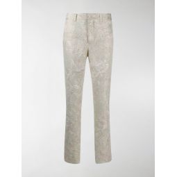 Sale Comme Des Garcons floral patterned skinny trousers gold